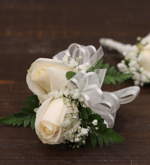 2 Rose Corsage White