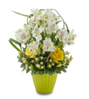 Send WHITE and YELLOW FLOWERS in a Textured Green vase to the Grand Rapids METRO Area with LOCAL FLORIST Sunnyslope Floral