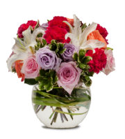 Order MIXED Flower arrangement with Roses, Lilies, Carnations and more in a BUBBLE BOWL Vase by Sunnyslope Floral